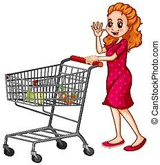 shopping, spinta, carrello, fondo, bianco, donna