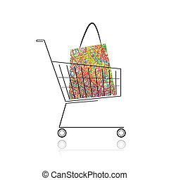 shopping, tuo, carrello, borsa, disegno, supermercato