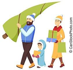 shopping, uomo, albero pino, natale famiglia