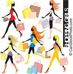 shopping, vettore, ragazze