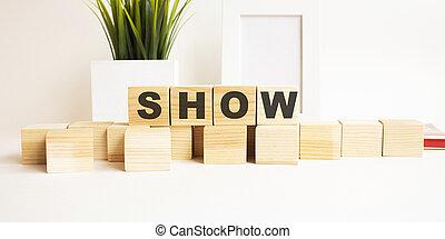 show., tavola., lettere, fondo., legno, bianco, parola, cubi