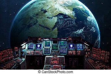 shuttle., elementi, dentro, nasa, ammobiliato, spazio