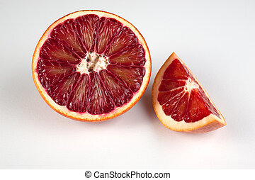 siciliano, sangue, mezzo, isolato, bianco rosso, cuneo, arancia
