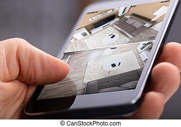 sicurezza casa, sistema, usando, persona