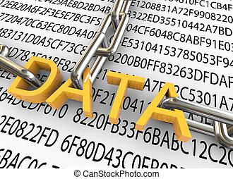 sicurezza, concetto, dati, 3d