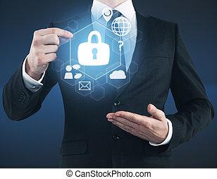 sicurezza, concetto, digitale