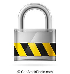 sicurezza, cuscinetto, chiuso chiave, serratura, concetto