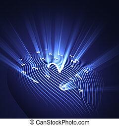 sicurezza, impronta digitale, digitale