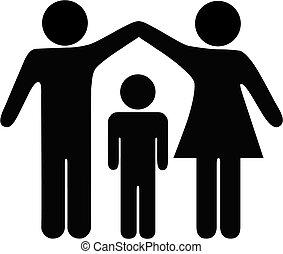sicurezza, madre, padre, famiglia, bambino