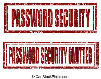 sicurezza, parola accesso, francobolli