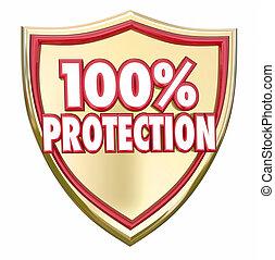 sicurezza, scudo, percento, sicurezza protezione, 100, assicurazione