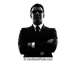 sicurezza, silhouette, segreto, uomo, guardia del corpo, agente, servizio