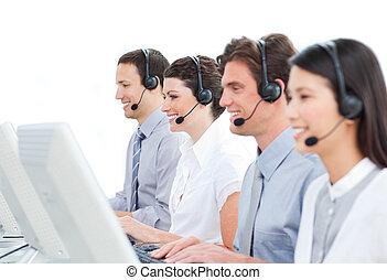 sicuro sé, centro, lavorativo, chiamata, agenti, assistenza clienti