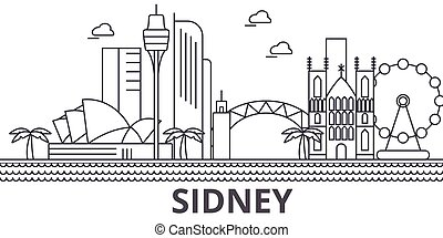 sidney, colpi, cityscape, viste, paesaggio, vettore, limiti, illustration., famoso, disegno, wtih, linea, architettura, orizzonte, città, lineare, editable, icons.