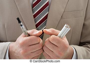 sigaretta, businessperson, elettronico