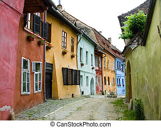 sighisoara, romania, strada, medievale, transylvania