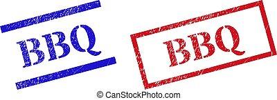 sigilli, rettangolo, cornice, bbq, francobollo, textured, graffiato