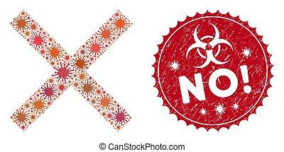 sigillo, collage, coronavirus, annullare, icona, afflizione, no!