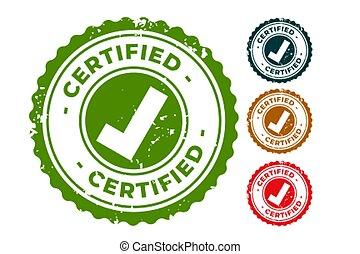 sigillo, francobolli, certificato, approvato, gomma, set