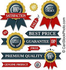 sigillo, nastri, qualità, etichette