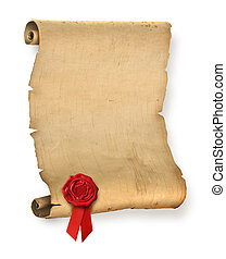 sigillo, vecchio, pergamena, rosso, cera