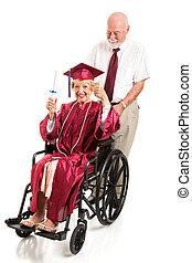 signora, anziano, laureati, invalido, onori