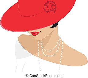 signora, cappello, rosso