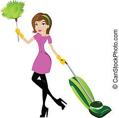 signora, carattere, pulizia