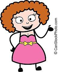 signora, cartone animato, giovane, illustrazione, felice