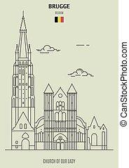 signora, chiesa, brugge, punto di riferimento, belgium., icona, nostro