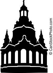 signora, nostro, frauenkirche, silhouette, chiesa