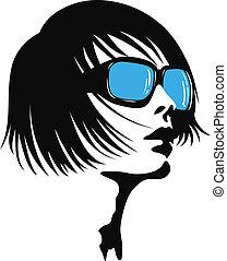 signora, occhiali da sole, giovane
