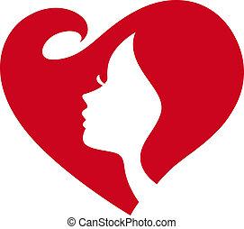 signora, silhouette, femmina, cuore rosso