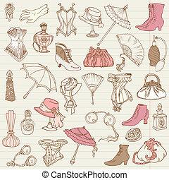 signore, moda, scarabocchiare, -, accessori, collezione, mano, vettore, disegnato