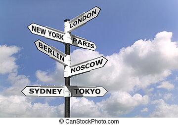 signpost, capitali, affari