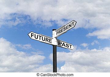 &, signpost, cielo, passato, futuro, presente