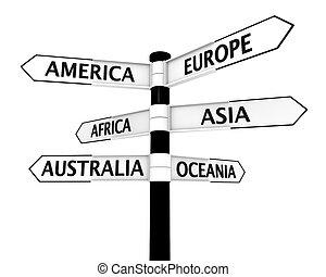 signpost, continenti