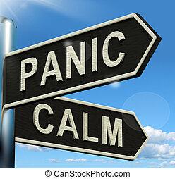 signpost, esposizione, caos, resto, calma, rilassamento, panico, o