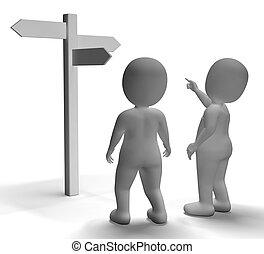 signpost, esposizione, o, caratteri, viaggiante, guida, 3d