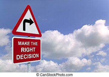signpost, fare, destra, cielo, decisione