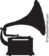 silhouett, grammofono, vettore, contorno