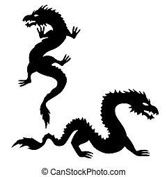 silhouette, 2, set, due, drago