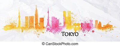 silhouette, acquarello, tokyo