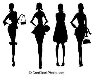 silhouette, affari, femmina