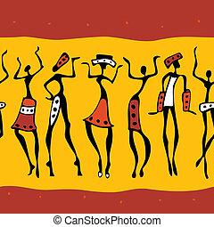 silhouette., africano, ballerini