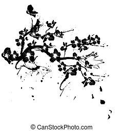 silhouette, albero ciliegia, illustrazione, fondo, fiori bianchi