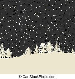 silhouette, albero, foresta, fondo