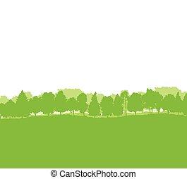 silhouette, albero, foresta, paesaggio