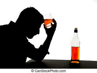 silhouette, alcolico, depresso, ubriaco, whisky, bendo bottiglia, cadere, dipendenza, sentimento, problema, uomo