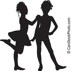 silhouette, amici, bambini